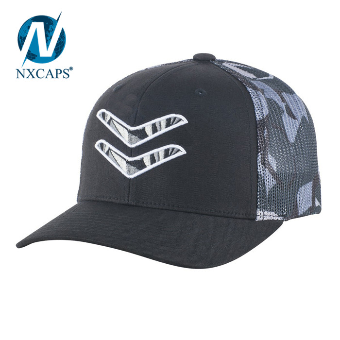Flat embroidery mesh trucker hat yupoong classic camo back hats wholesale blank closed back closure snapback hat