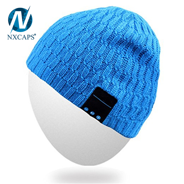 Stylish stretched knit headphone hat wireless bluetooth custom leather patch cashmere wool fabric hat beanie children funny knitted hat
