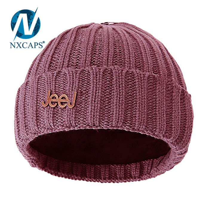 ad2c862133e ... Hand knitted woolen cap custom metal logo spire beanie knitted slouch  girl colourful Hot selling ribbed ...