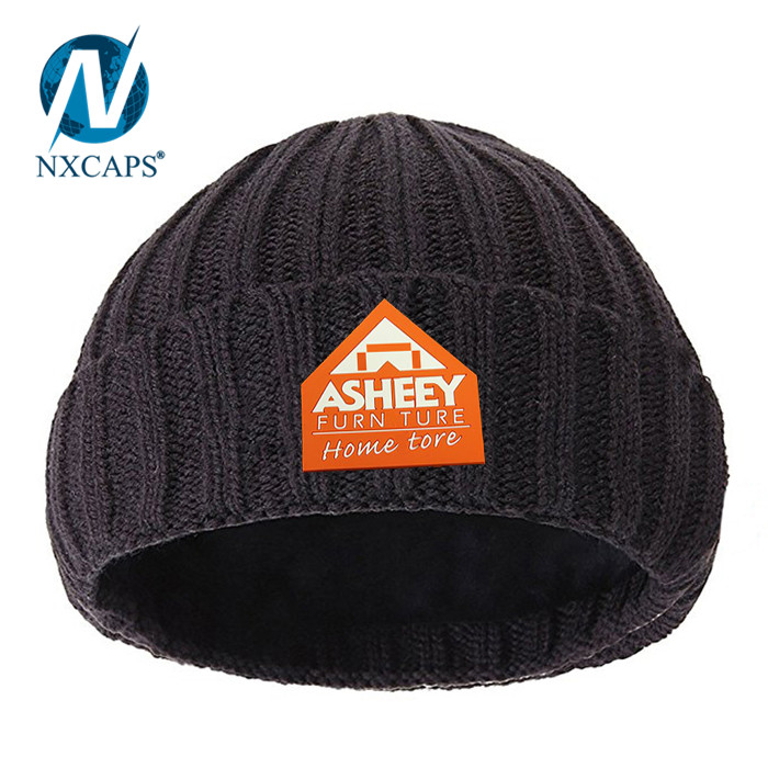 Custom Rubber Label Knitted Cap Waterproof Beanie Hats Men Free