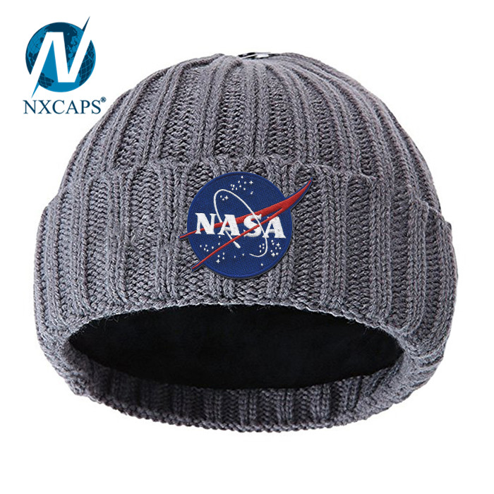 Embroidery Fold Beanie Hat Boys Knitted Hats Mens Winter Cap