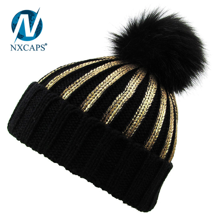 96bb11a2 Gold ROPE Winter Fur Hat Real Large Raccoon Fur Pom Pom Beanie Winter Hats