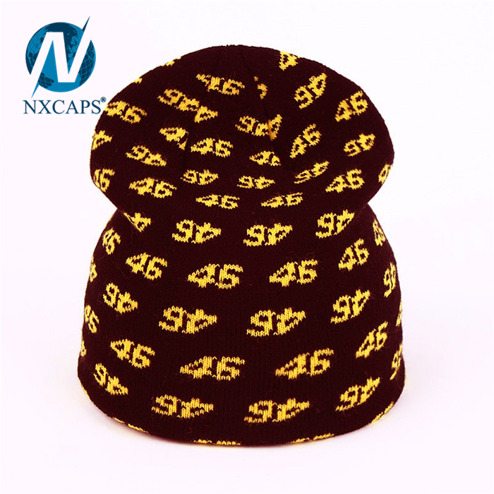 Black beanies jacquard number Beanie hat Unisex acrylic knitted slouch women colourful Hot selling ribbed knitted hats hip hop plain beanie hat Details made in china