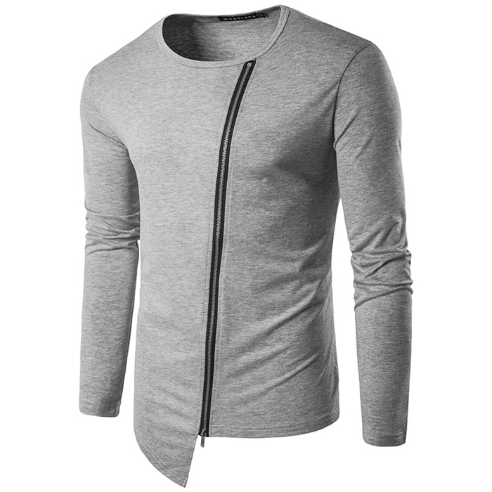 Cool long sleeve t shirt custom o neck t shirts with asymmetrical front zipper tee