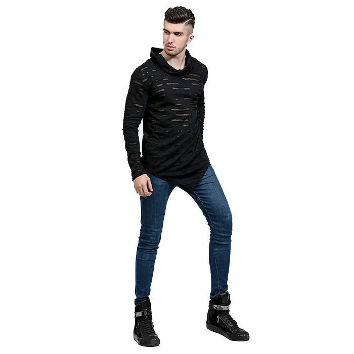 Solid mens distressed t shirts asymmetrical t-shirt pile collar long sleeve tees custom