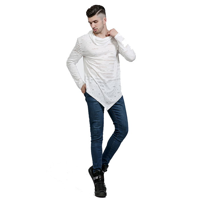 Wholesale mens distressed t shirts asymmetrical t-shirt long sleeve distressed tees custom