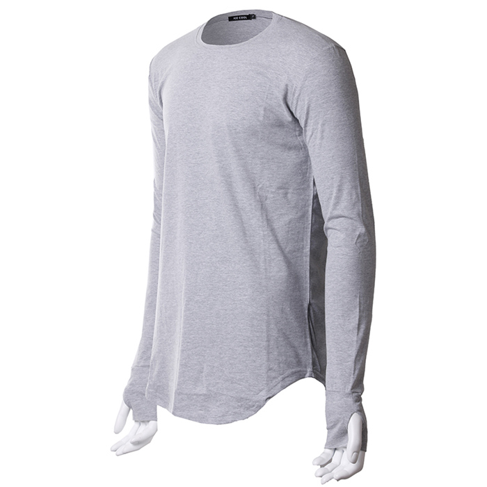 long sleeve t shirt with thumb hole shirts blank 100% cotton curved hem tee for men