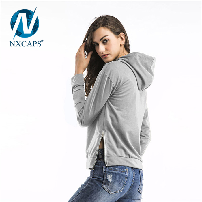 873cb9e4098385 ... Custom design Women Autumn side zipper Clothing Crop Top Hoodies And  Sweatshirts Loose Wholesale Cheap Polyester ...