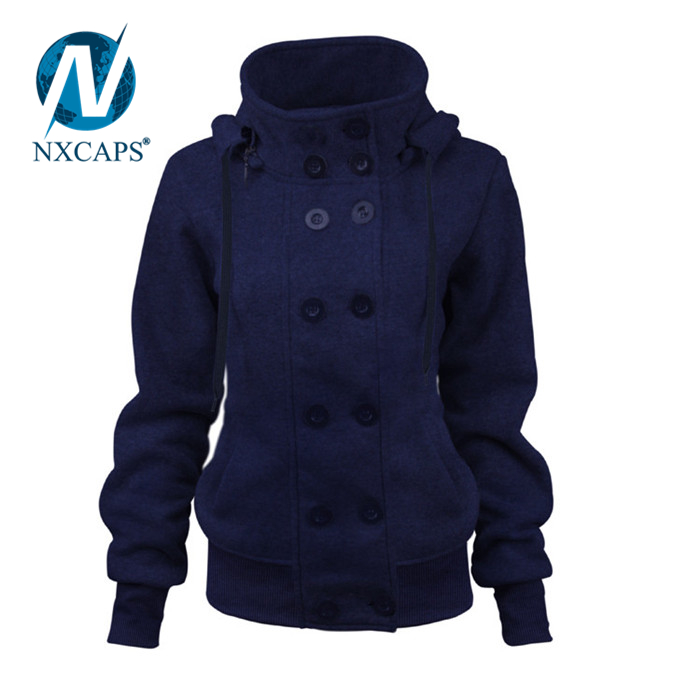 New Arrival European Branded Hoodie With Removable Hat Wholesale Good Quality Double-breasted Ladies Fashion Women Casual