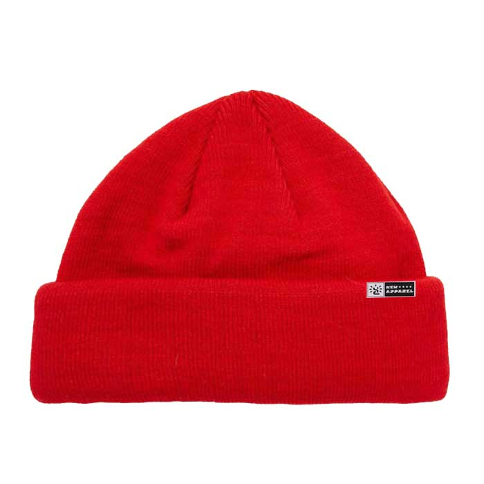Red Wool Cable Knit Beanie Hat Fisherman Beanie