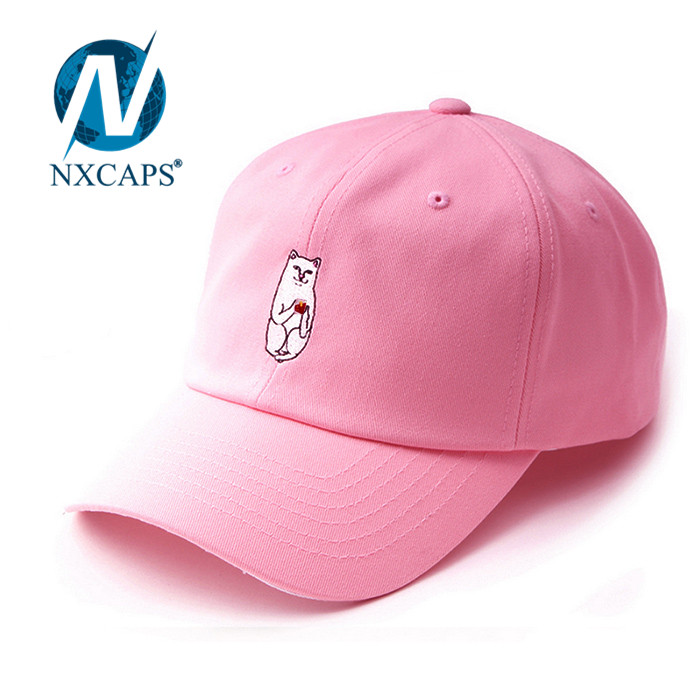 white cat embroidery logo Plain dad hats pink blank custom 3D embroidery baseball cap men 6 lines sports caps with adjustable Metal buckle