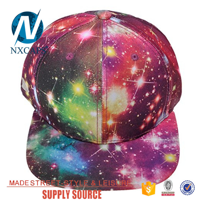 Custom digital print galaxy snapback hat 6 panel hip hop hat cap, digital print,galaxy snapback hat,custom cap,nxcaps shenzhen Fashion company