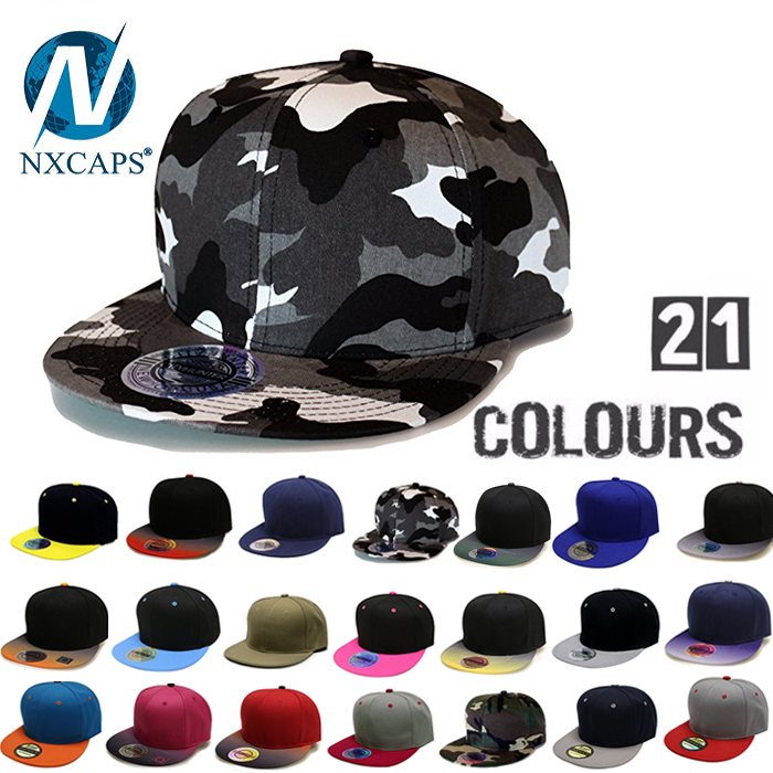 Camo blank snapback cap flat brim colorful 6 panel Acrylic sport hat 6 panel flat brim snapback cap with acrylic Back