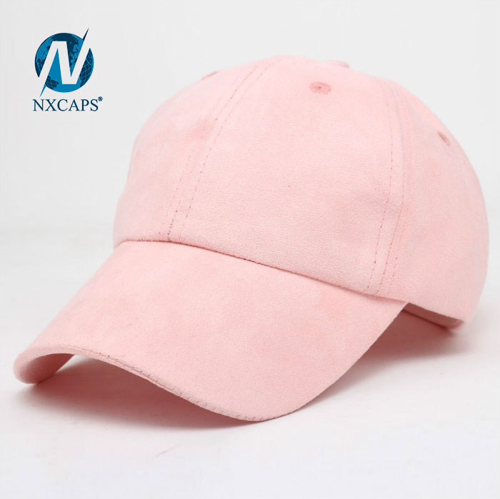 Suede baseball cap plain 6 panel curve brim long bill sports hat Suitable for outdoor activities and advertising activities