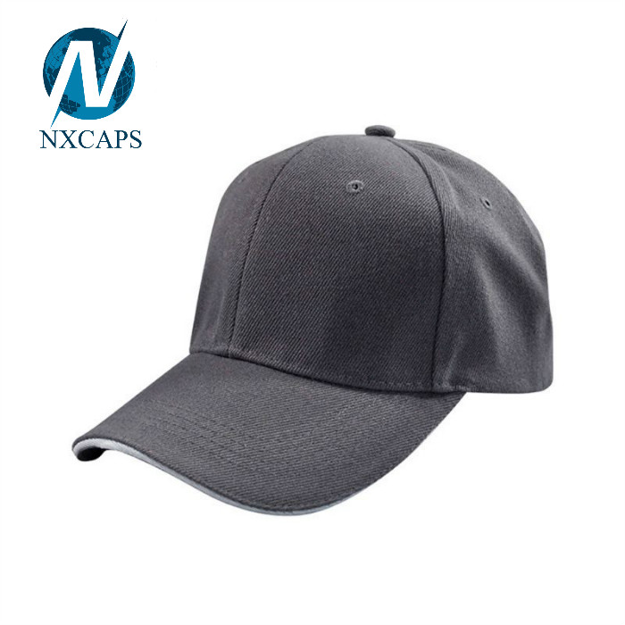Acrylic baseball cap with Sandwich brim Design Blank Base ball Caps For Men plain 6 panel curve brim long bill sports hat Suitable for outdoor activities and advertising activities