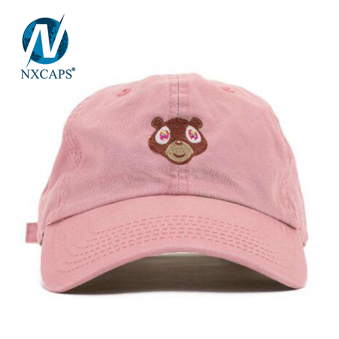 Dad hats embroidery logo cute bear pattern plain 6 panel curve brim sports outdoor activities advertising hat and caps Stylish Custom