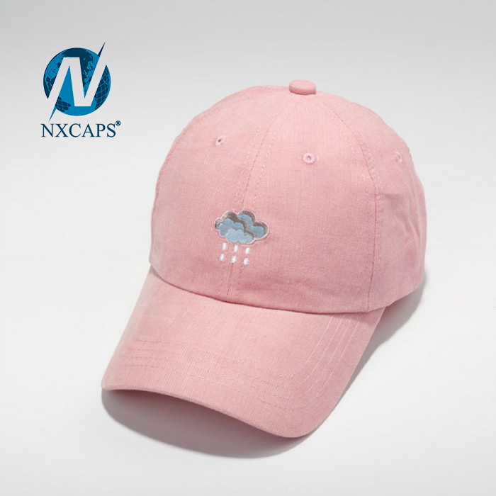 pink 6 panel embroidery dad hat New style customized weather cloud rain patch baseball hat and sport cap with metal strap