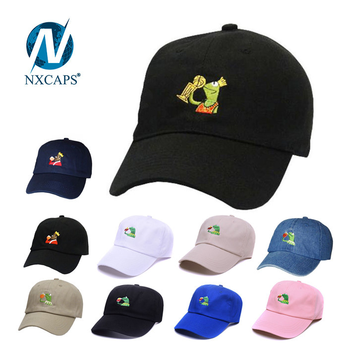 Dad hat KERMIT embroidery logo baseball cap napback hats with custom patch wholesale sport caps KERMIT 6 panel dad hats.jpg