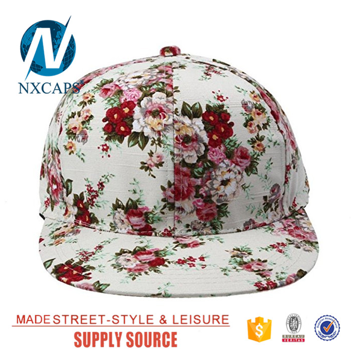 All over digital print floral snapback hat fashion women hip hop cap,floral snapback hat,all over print cap,floral hip hop hat,nxcaps shenzhen Fashion company
