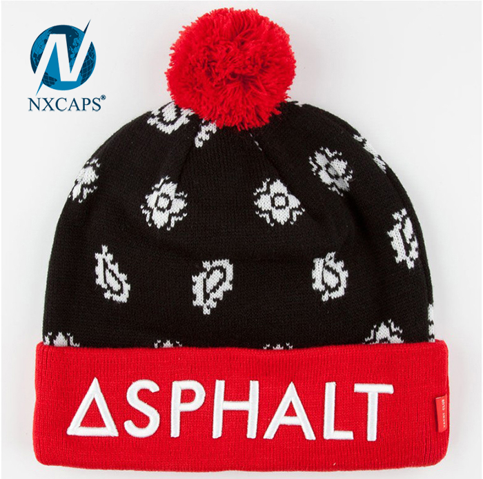 Leather patch beanie hat girls fashion knitted hats womens ski soft winter jacquard cap and custom logo