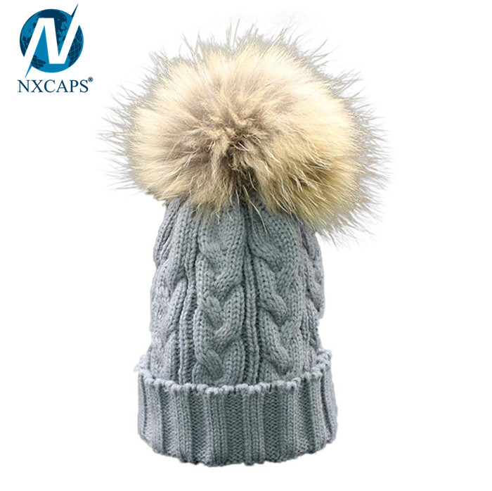 Solid color kids hat with fur pom pom baby hat winter beanie hats,kids hat with fur pom pom,baby pom pom hat,winter hats kids,knitting pattern beanie,kids beanie wholesale,nxcaps,nxcaps shenzhen Fashion company