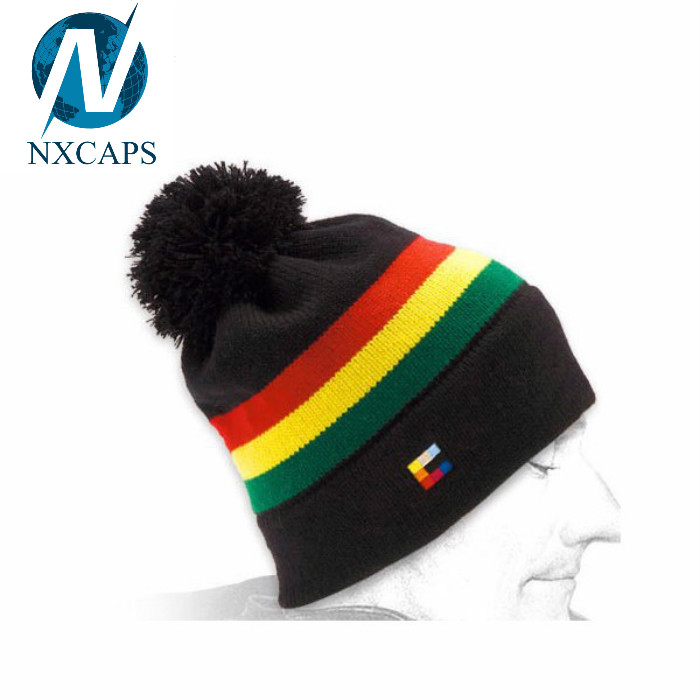 Wholesale beanie caps rasta stripe hat custom cotton beanies hats pom pom winter sports cap