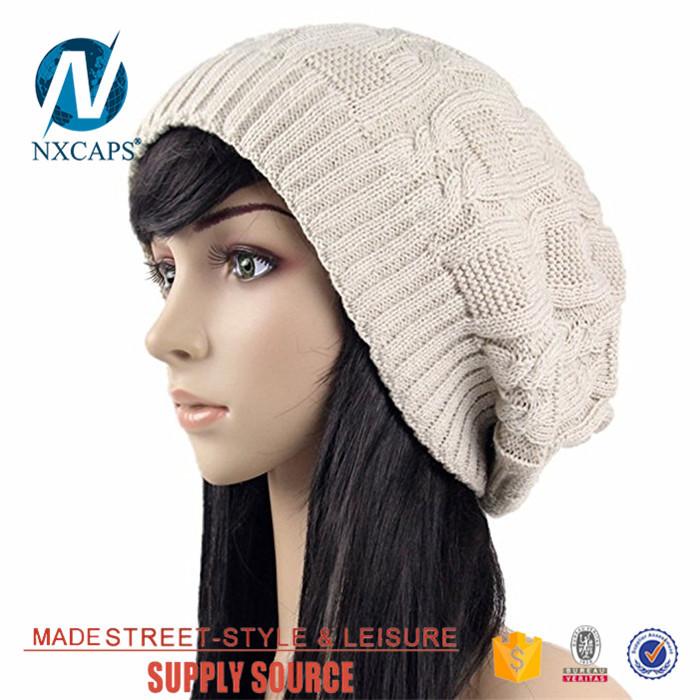 Wholesale Custom Knitted Acrylic summer checked beanie hat girls Beanies Hat With embroidery Logo