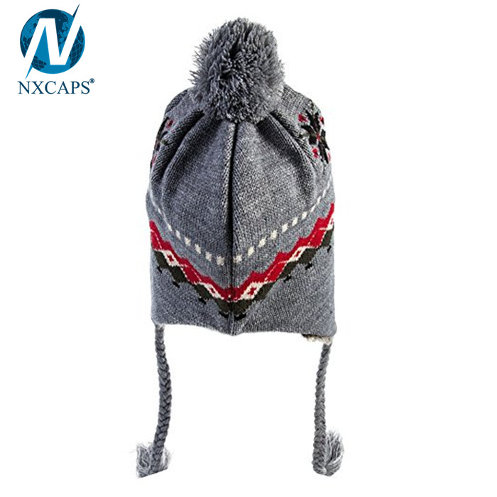 Girls jacquard beanie with strings winter hats pompom hat,beanie with strings,winter hats with strings,girls winter hats,jacquard beanie hat,hat pompom,nxcaps,nxcaps shenzhen Fashion company