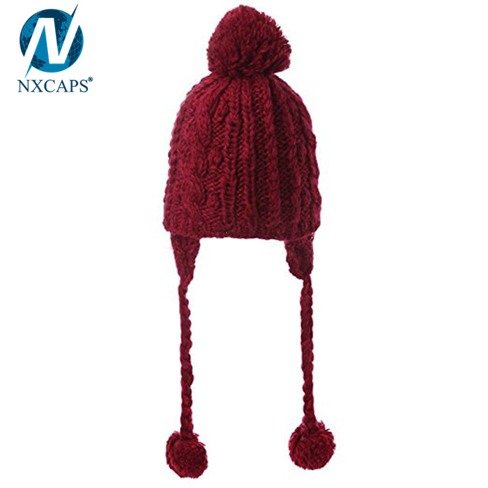 Custom plain beanie with strings winter hats pom pom knitted wool beanies,winter hats with strings,plain beanie with strings,wool beanies,custom beanies with pom pom, wool kintted beanies,nxcaps shenzhen Fashion company