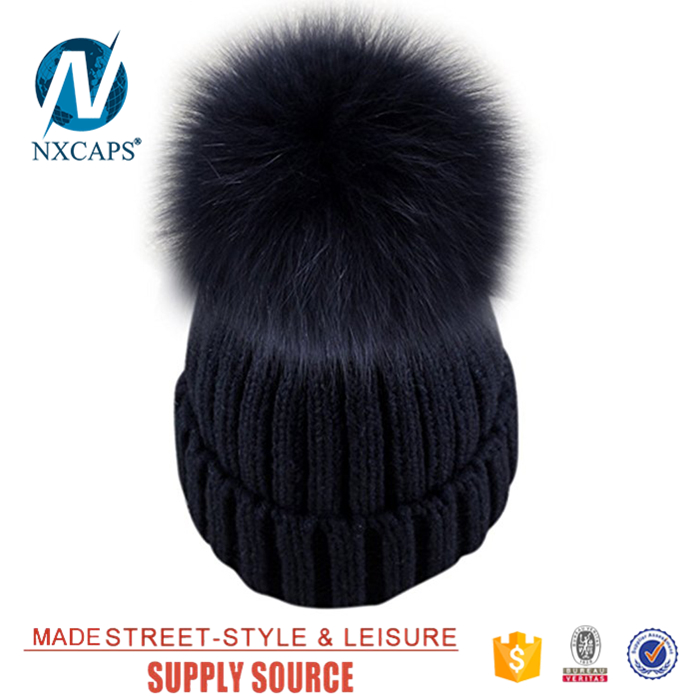 Leather label beanie real fur ball women spring winter hat Classic skully hat branded skull hats women beanies cap manufacturers Big fur ball beanie Custom jacquard Beanie Hat