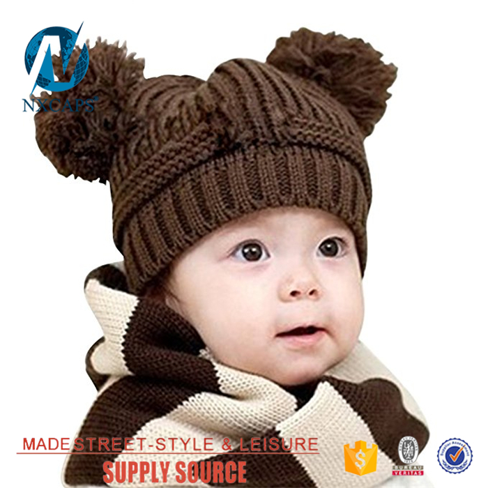 Cartoon characters beanie hat 3D animal Baby slouch two balls knit hat cotton winter Double pom pom beanie acrylic hat jacquard pattern knitted cap