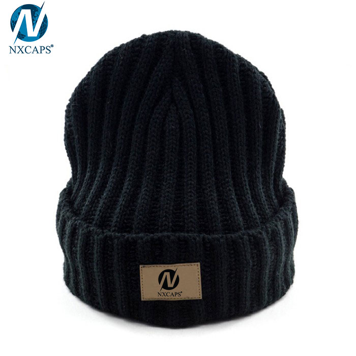 Custom patch beanie rib knit beanie hat plain cuff beanie wholesale,custom patch beanie,rib knit beanie,plain beanie,leather patch beanie hat,cuff beanie,wholesale beanie,nxcaps shenzhen Fashion company