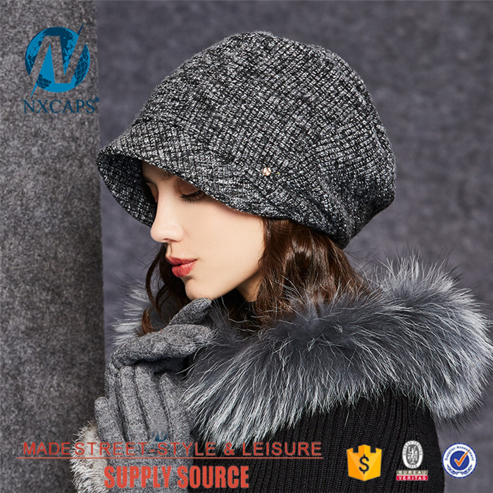 Short brim beanie hat ladys classic breathable waterproof knited hats metal button decorate Double Layer beanie cap
