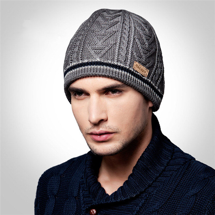 Waterproof grey beanie hat leather patch custom fleece knit hat wholesale hand knitted Jacquard wool caps