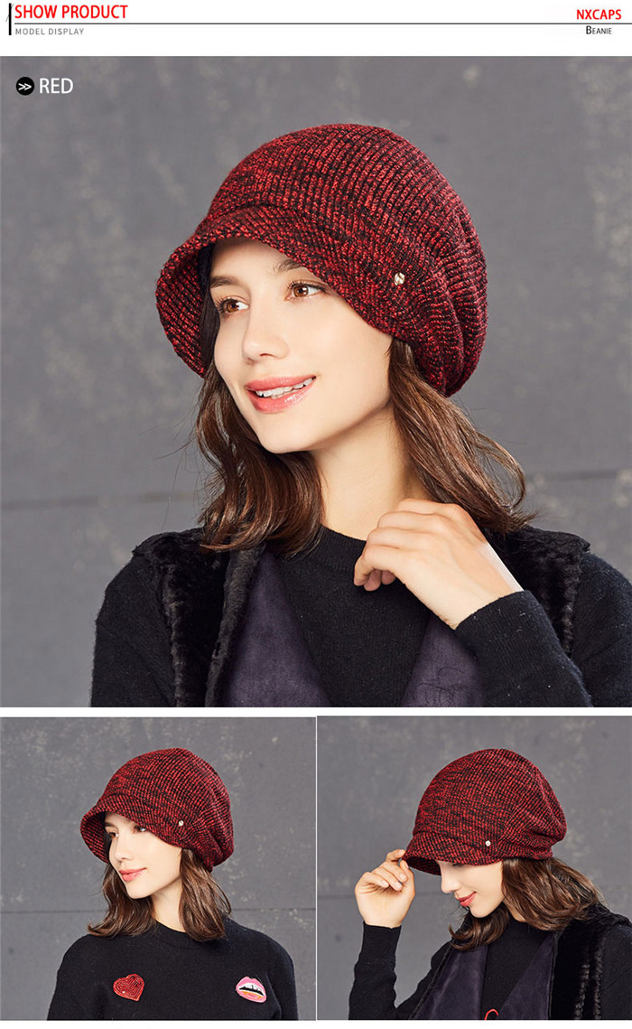 Wholesale cable knit cuff beanie hat short bill lady free knitted ...