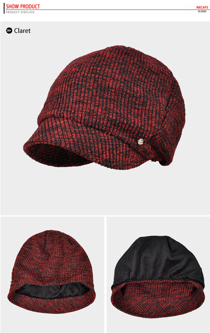 291ad8fb420 ... Wholesale cable knit cuff beanie hat short bill lady free knitted  beanie hat women metal button ...