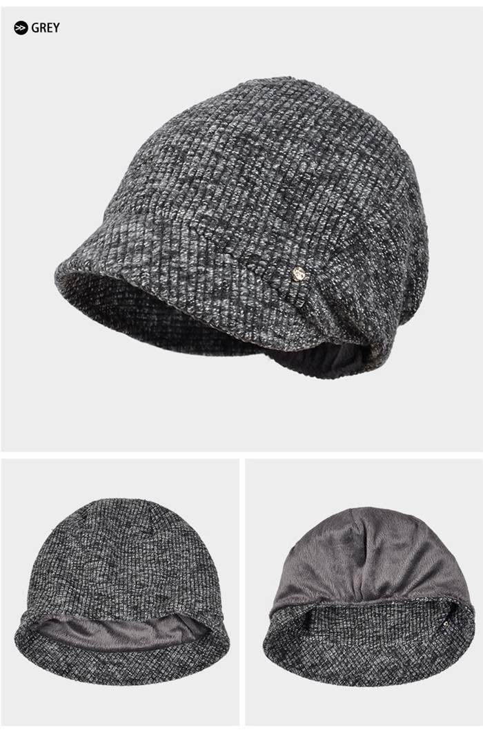 Wholesale Cable Knit Cuff Beanie Hat Short Bill Lady Free