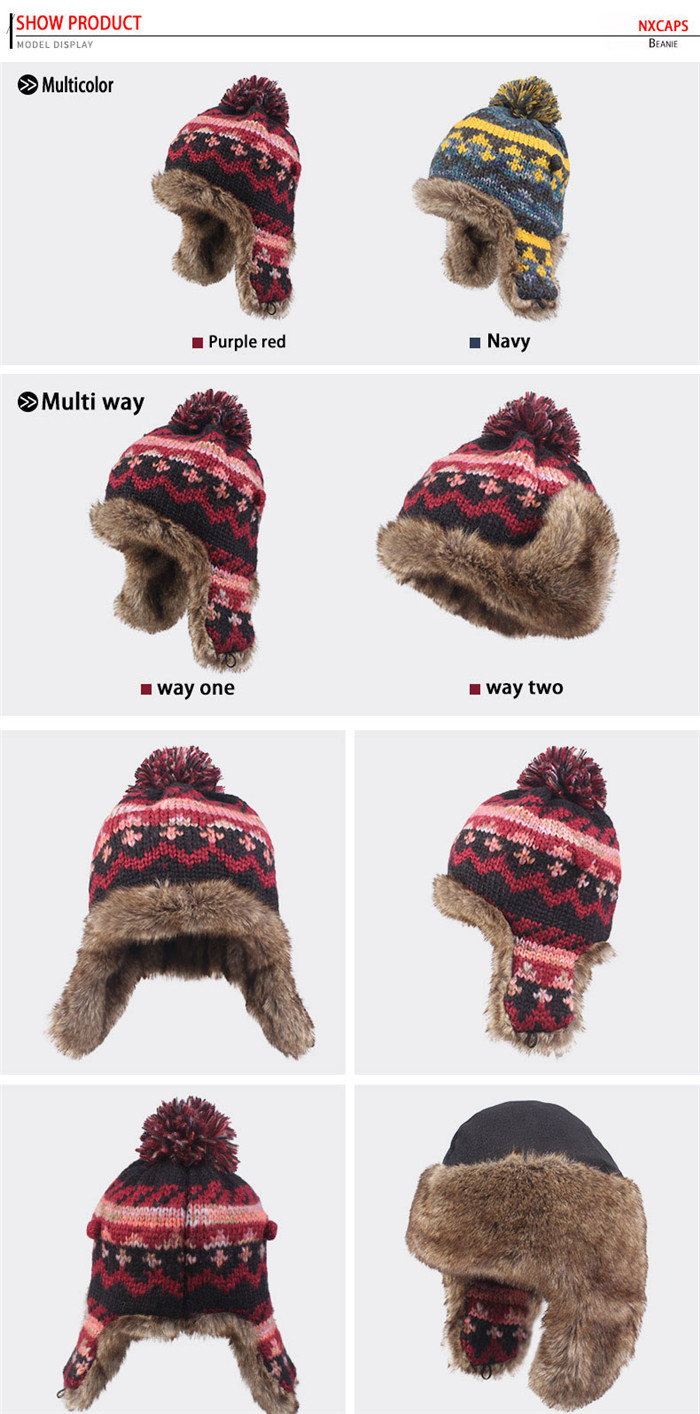 Custom ushanka russian hat jacquard earflap beanie hats hand knitted woolen caps top ball colorful knit hat knitting cap Gorros rusos ushanka russian military ushanka women hat