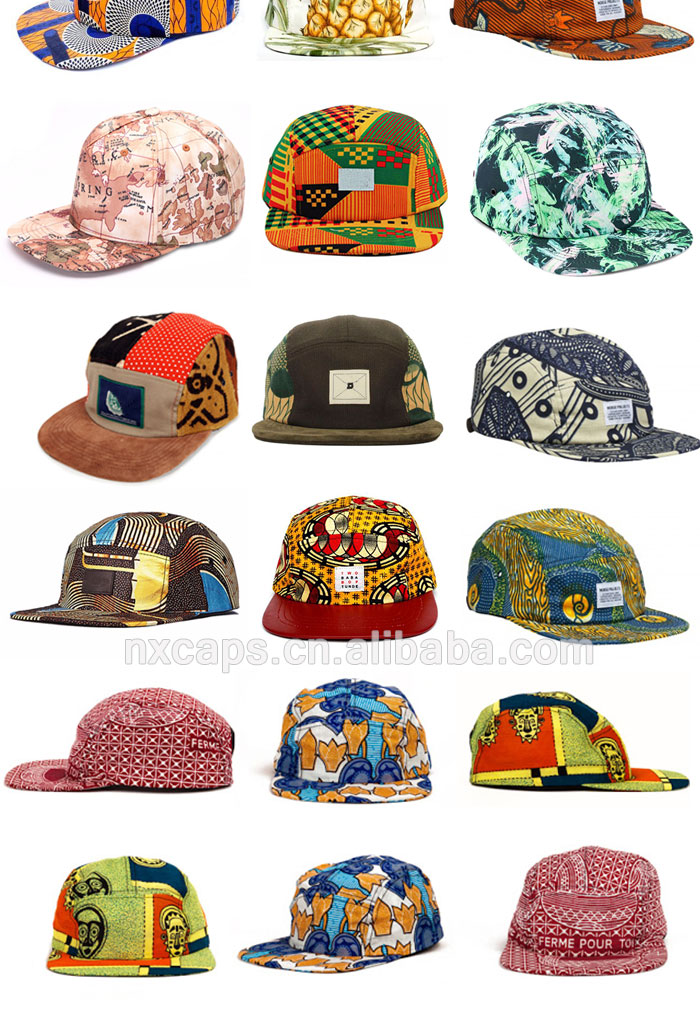 Blank wholesale 5 panel hats blue flower full printed flat brim snapback cap