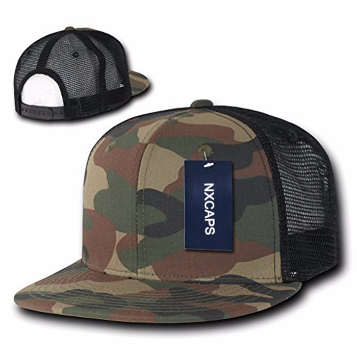 Promotion plain camo snapback hats old school camouflage trucker hat xxl snapback caps shop with black mesh cap