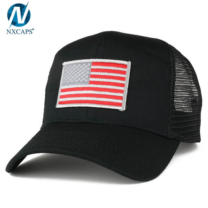 Custom trucker hat embroidery patch trucker cap 6 panel mesh trucker hats with American flag,custom trucker hat,embroidery patch trucker cap,6 panel mesh trucker hat,hat trucker,trucker hats wholesale,nxcaps shenzhen Fashion company