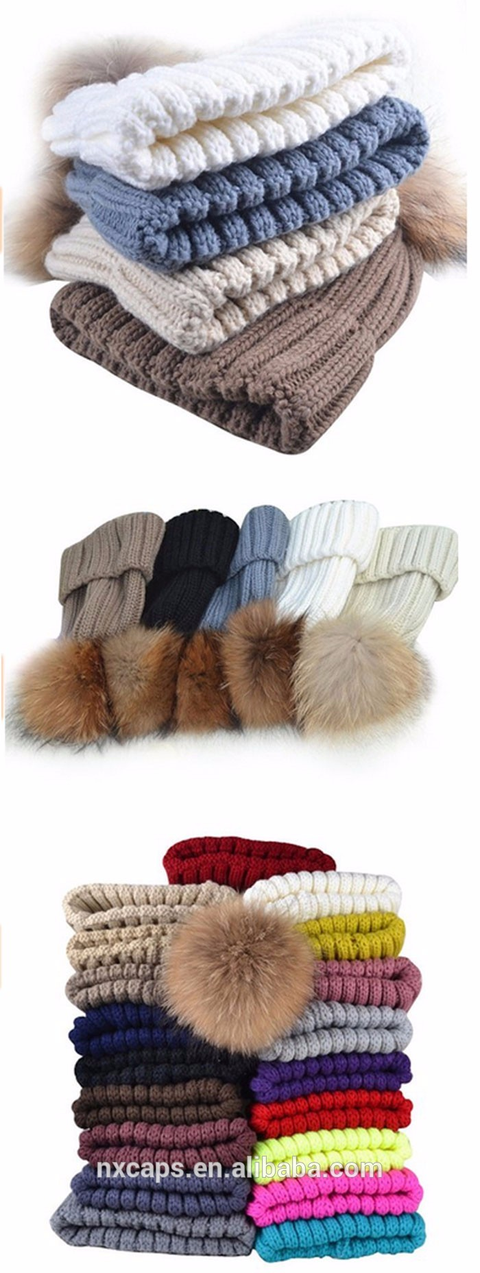 Genuine Fox Fur Pom Pom Cashmere Mix Knit Winter Wool Hat Beanies for Women with top ball.jpg