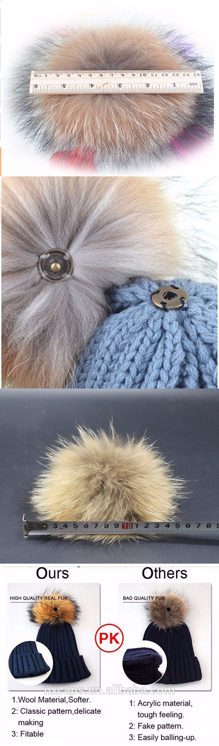 Colorful pom poms Womens Girls Winter Fur Hat Real Large