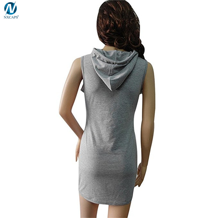 Sleevless hoodies t shirt dresses casual sleeveless hoodie dress for summer,t-shirt dresses casual,sleeveless hoodies,t shirt dress,hoodie dress,nxcaps shenzhen fashion company