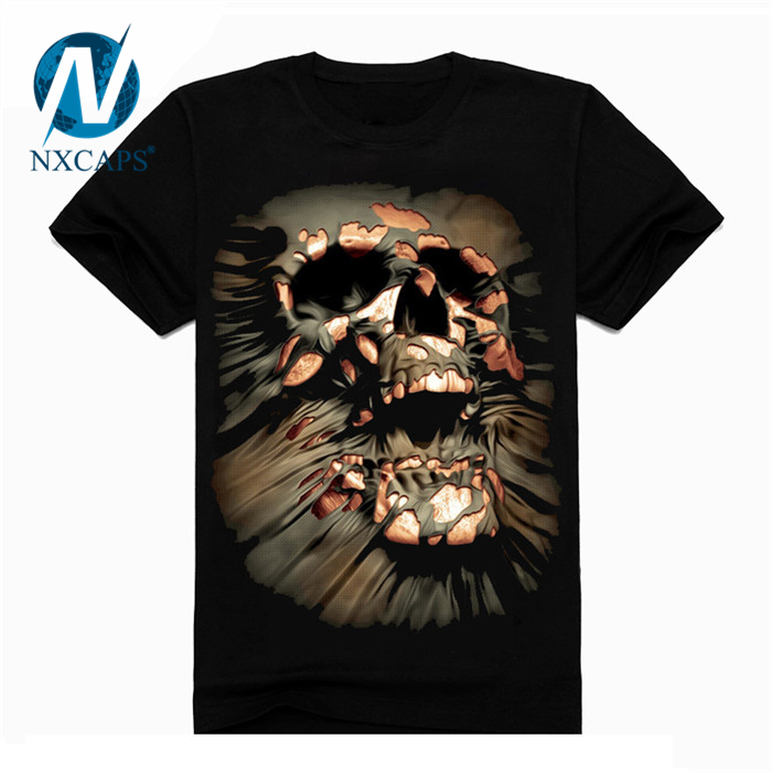 Skull T shirt for men Newest Fashion Designed Tees Tops Punk rock Style Cotton Man t shirt Plus SizeNew Fashion Brand Clothing 3D Indians Print T shirts Cartoon Printed T Shirts with Size and Color Customized Plus Size