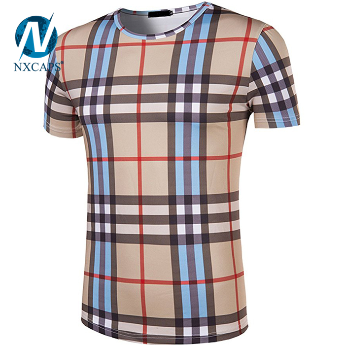 Custom t shirt with Digital flatbed printing colorful pattern t-shirt short sleeve O neck tees Leisure t shirt Britain style print mens tees blue t-shirt.jpg