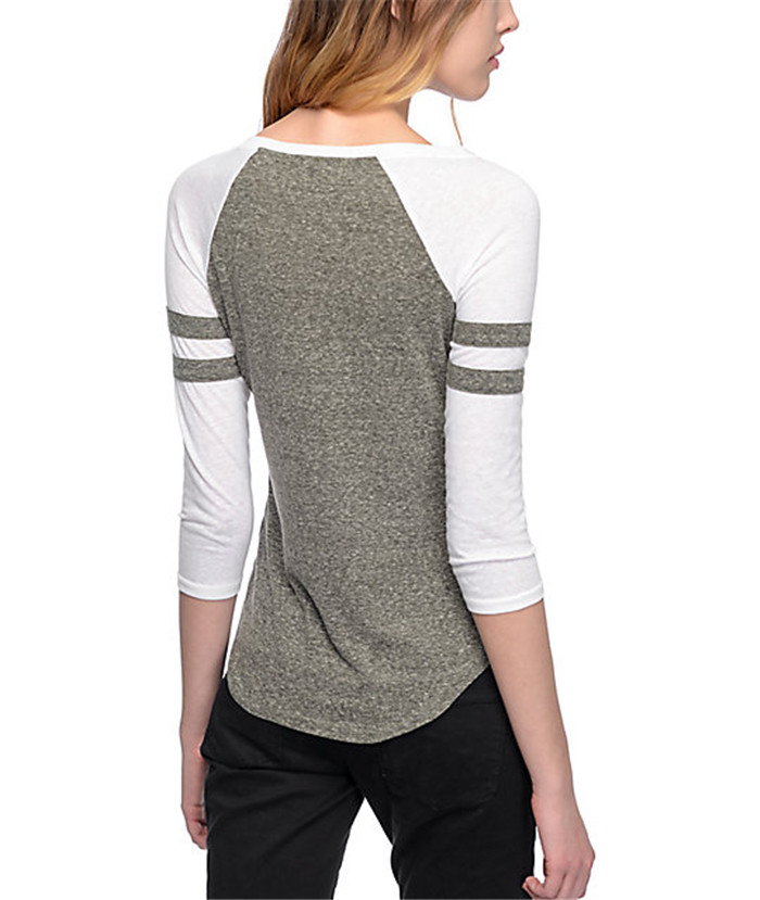 Sexy women rope t shirt V neck plain sports t-shirts two tone cotton top shirts 3/4 sleeve plain t shirt wholesale blank t shirts china sublimation t shirt.jpg