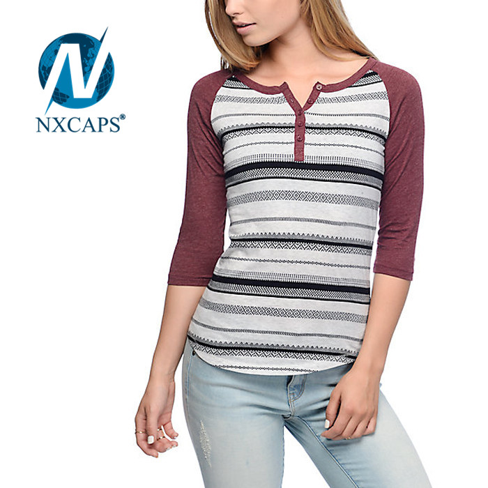Merino wool t shirt Wavy line printing tees V neck style lady girls top shirts Wholesale blank t shirts printing tees 3/4 sleeve blank t shirt