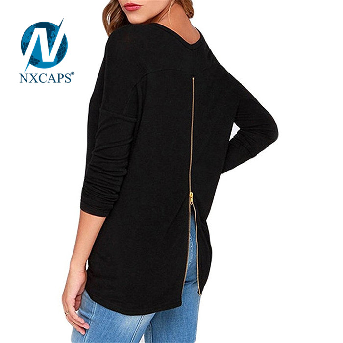 Women black t shirt with back zip solide plain long sleeve tees Fashion t-shirt Lone line t shirt own back zipper blank no printed tees with spring