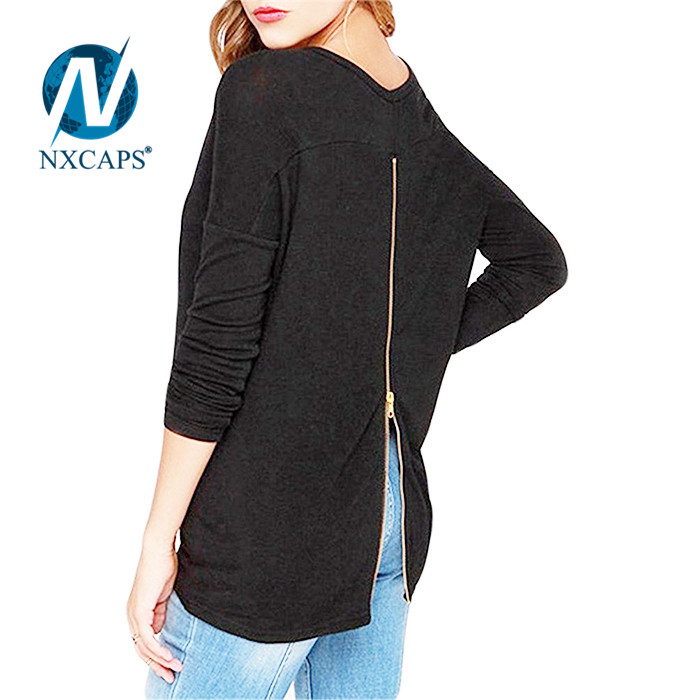Black women t shirt with back zipper plain O neck girls long sleeve tees Fashion t shirt with back zipper womens blank tees